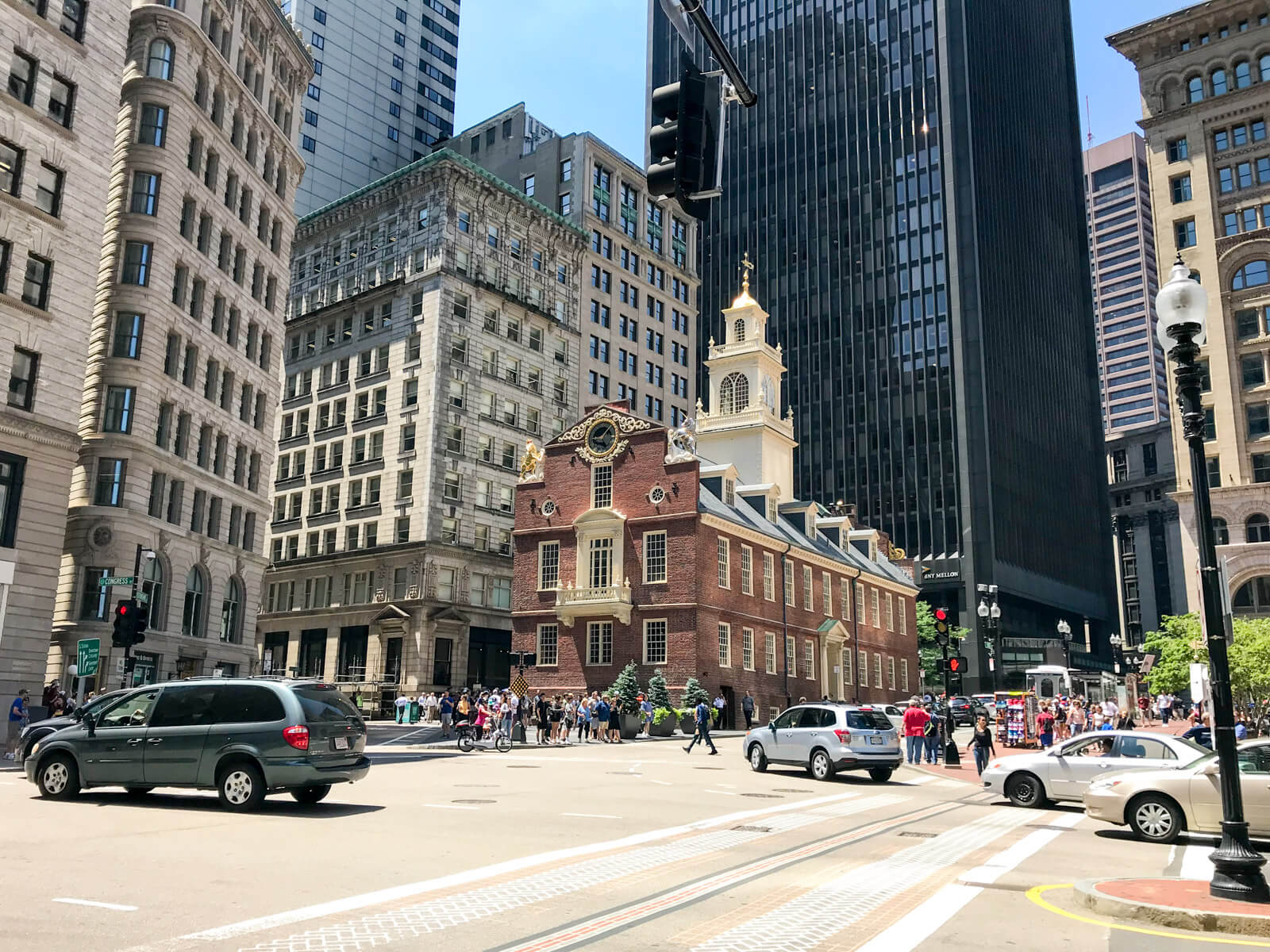 The historic city of Boston as seen from an intersection