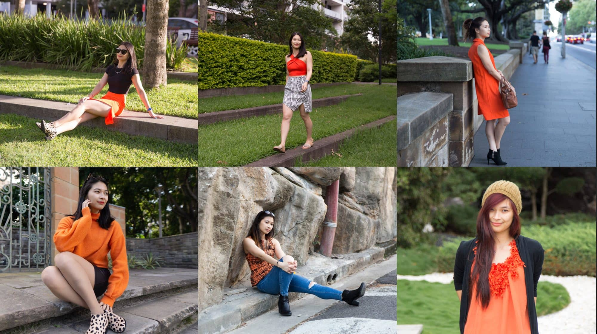 A collage of six photos of the same woman at different periods of time, posing in different outfits with a bright orange element in each of the outfits.