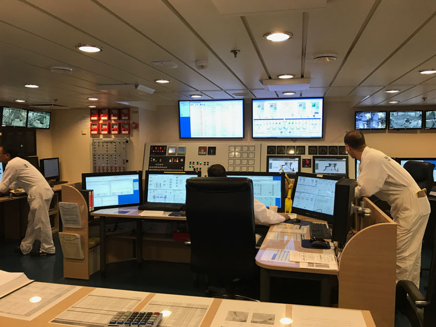 Inside the engine control room with a lot of computer screens
