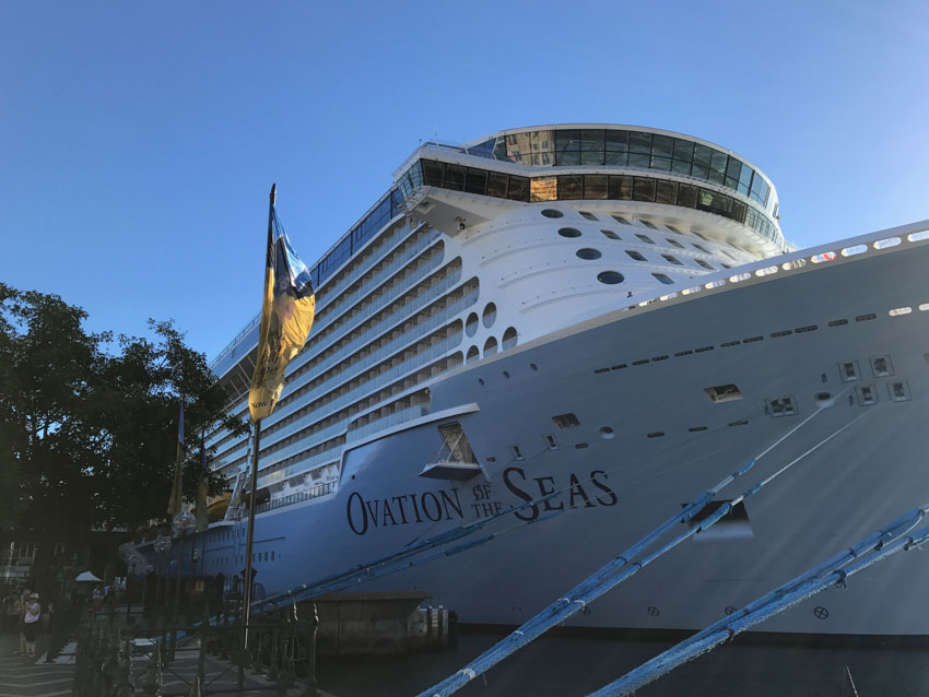 Ovation of the Seas ship docked in Sydney