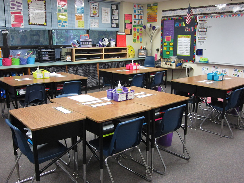 A third grade classroom with desks in view