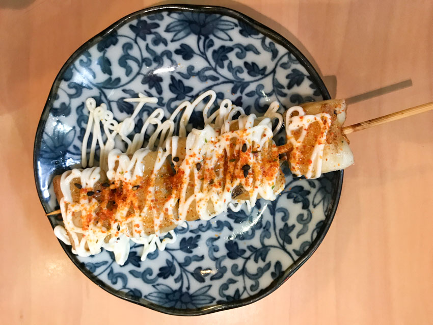 Squid skewer with chilli and mayo