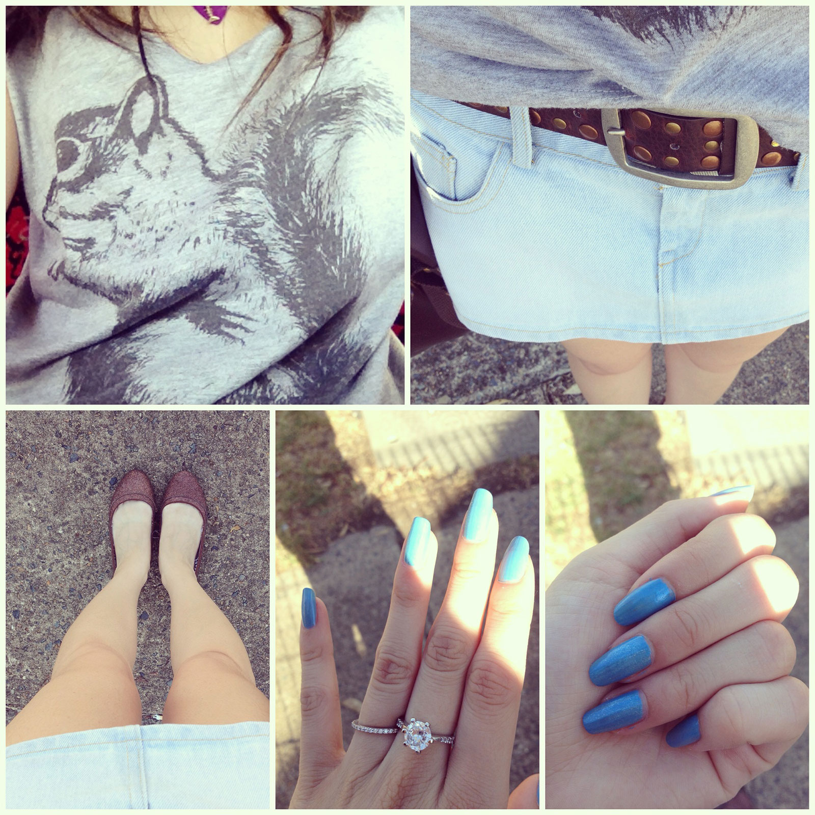 Collage of various parts of my outfit