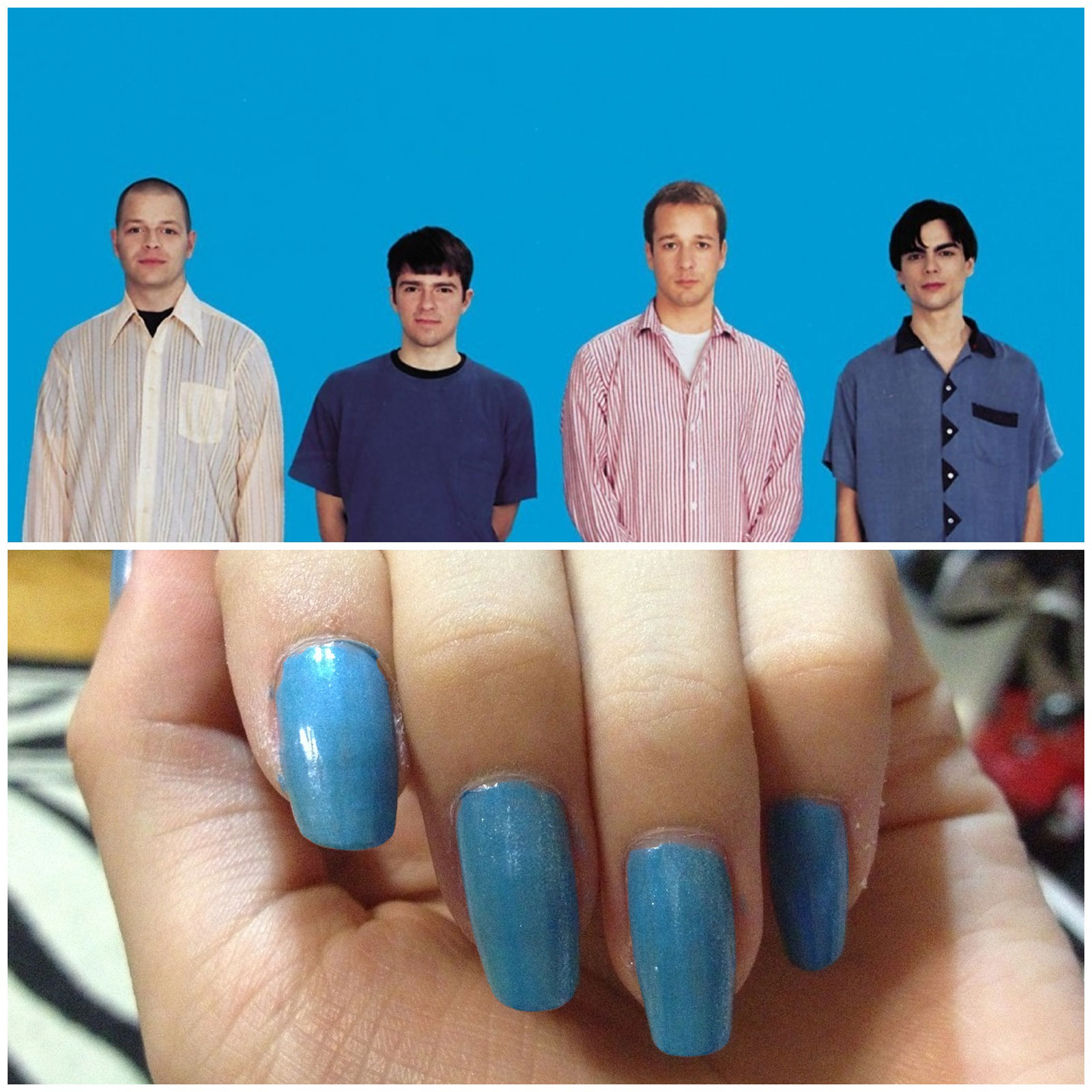 Comparison of the Weezer blue album and the colour on my nails