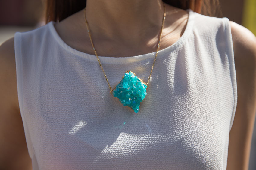close up of giant aqua crystal necklace