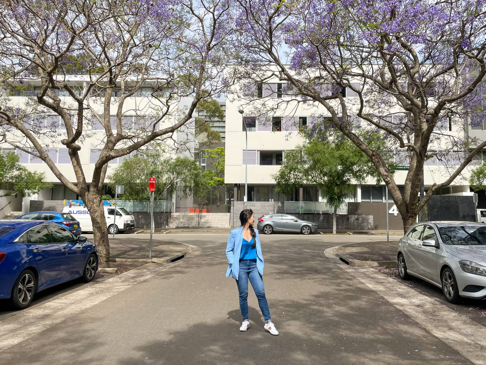 A woman with fair skin and long dark hair braided loosely in a side braid, standing in the middle of a quiet street. She is wearing a light blue blazer and blue jeans with white sneakers. She is looking over her shoulder and above her there is a canopy of jacaranda trees