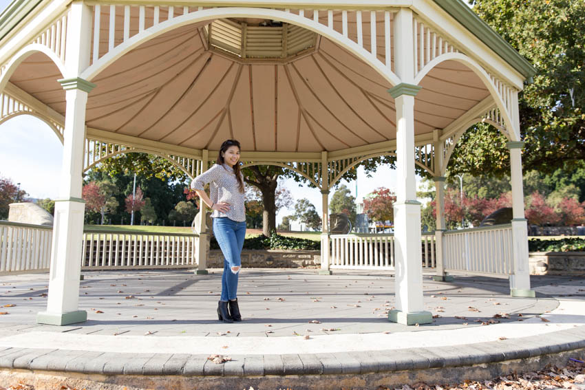 Me standing in a gazebo with my hands on my hips