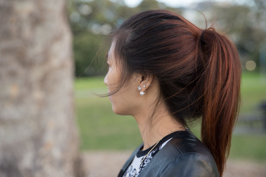 Close up side shot of my ponytail