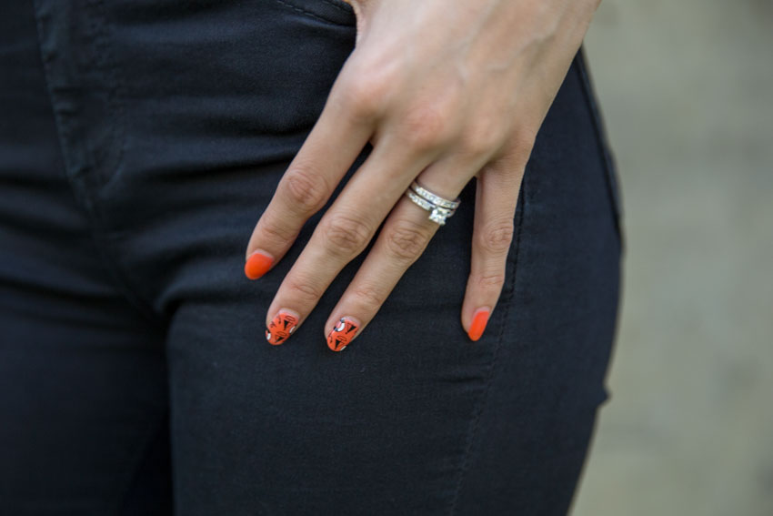 Close up of my orange nails