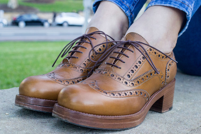 Close up of my brown Italian brogues