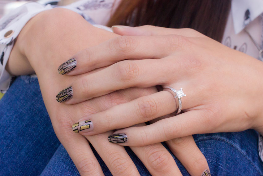 Close up of my nail art and my engagement ring
