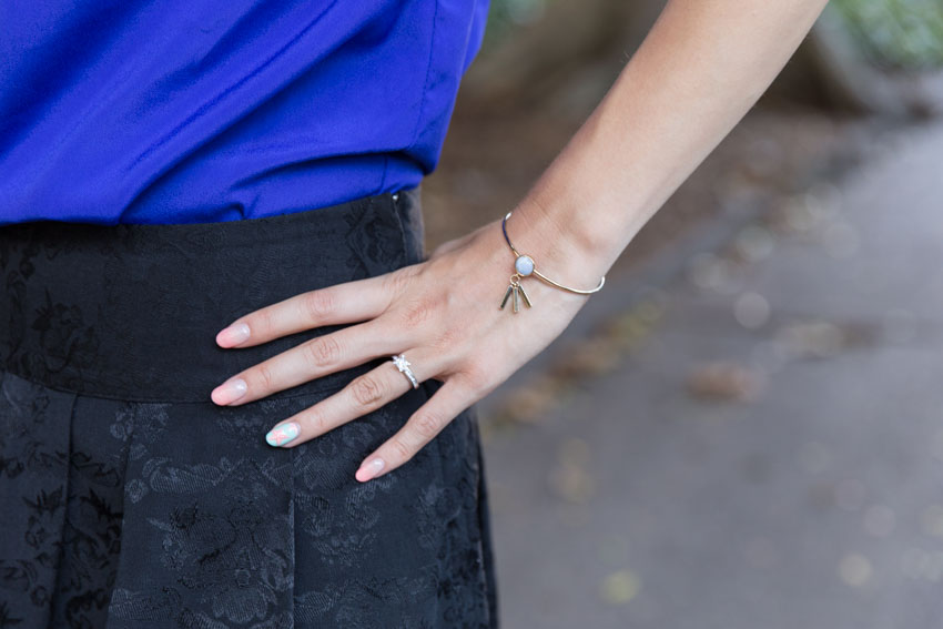 Close-up of my hand on my hip with a cuff from Wanderlust + Co