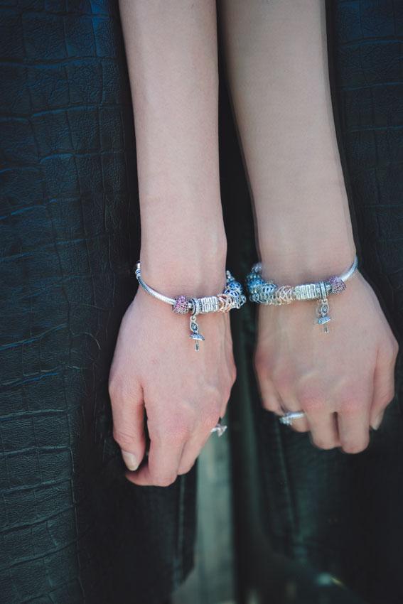 Close up of my Pandora bracelet