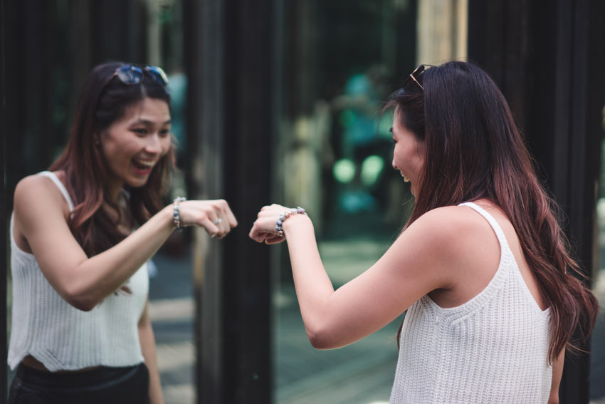 Me fist-bumping my reflection