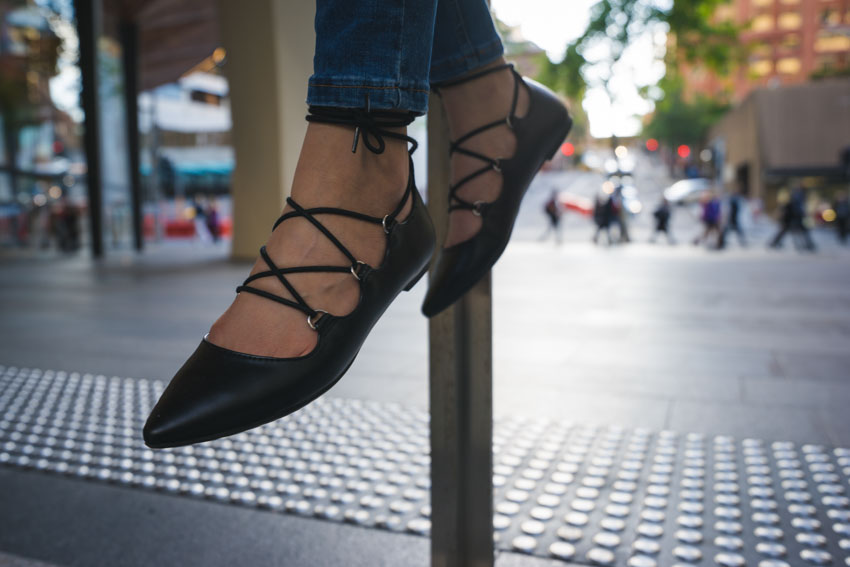Close up of my black lace-up flat shoes