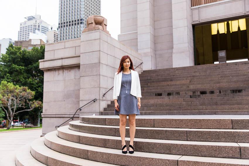 Full body shot of me standing on the Hyde Park memorial steps