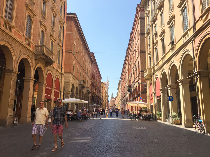 View down a main street in Bologna