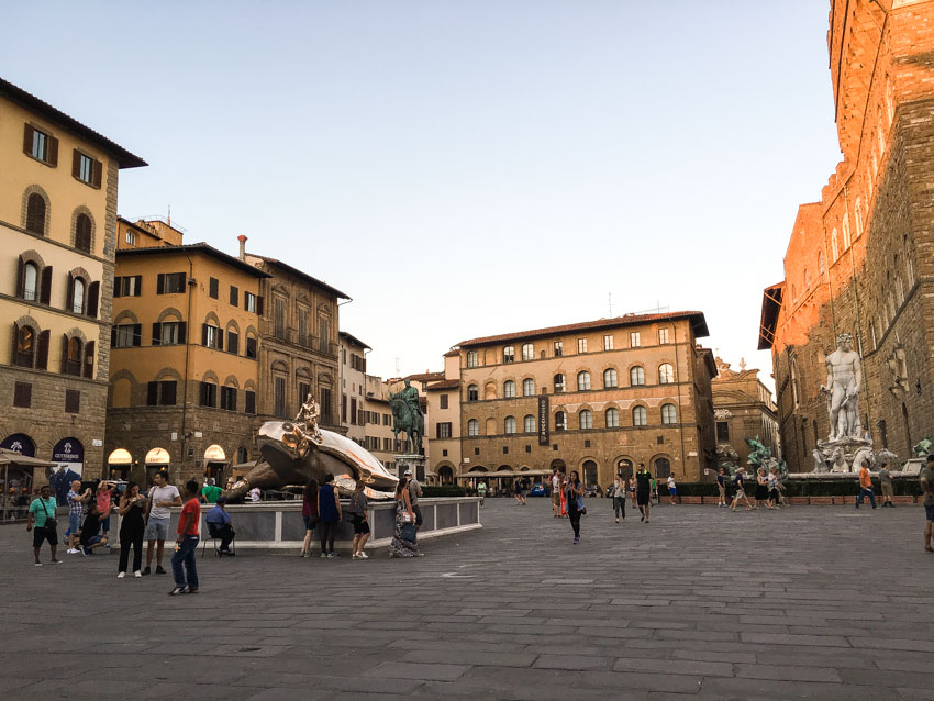 One of the city squares in Florence