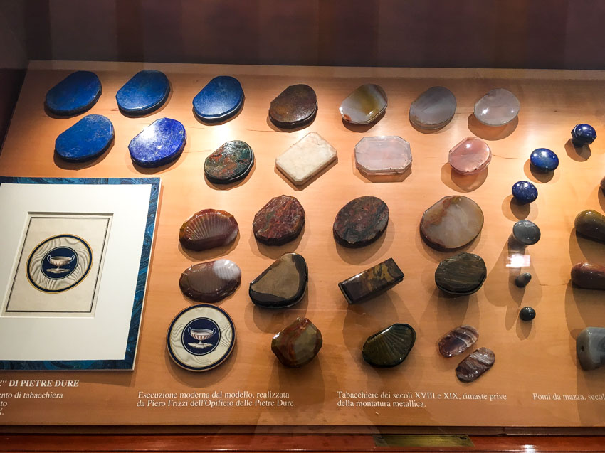 Some precious stones on display before they were put into mosaics
