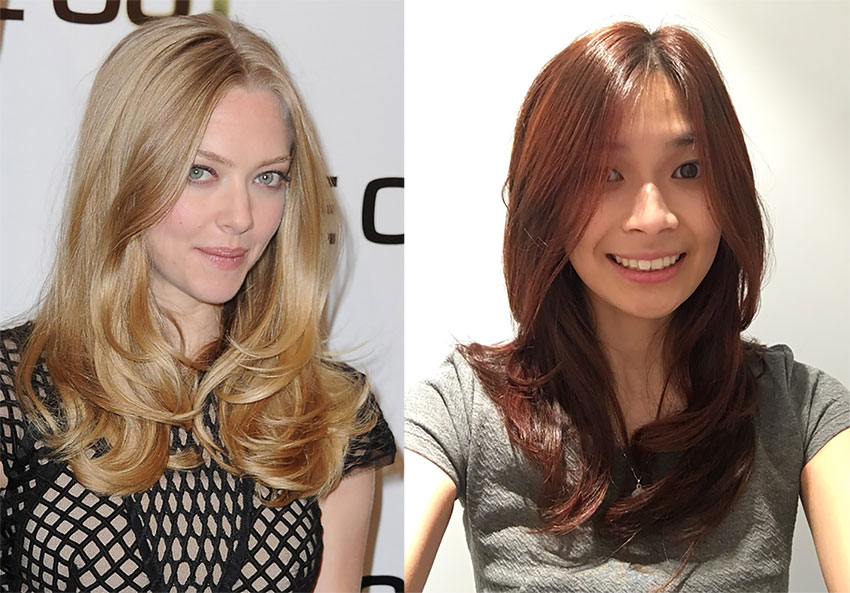 Comparison hair photo: Amanda Seyfried (left) and my new haircut (right)