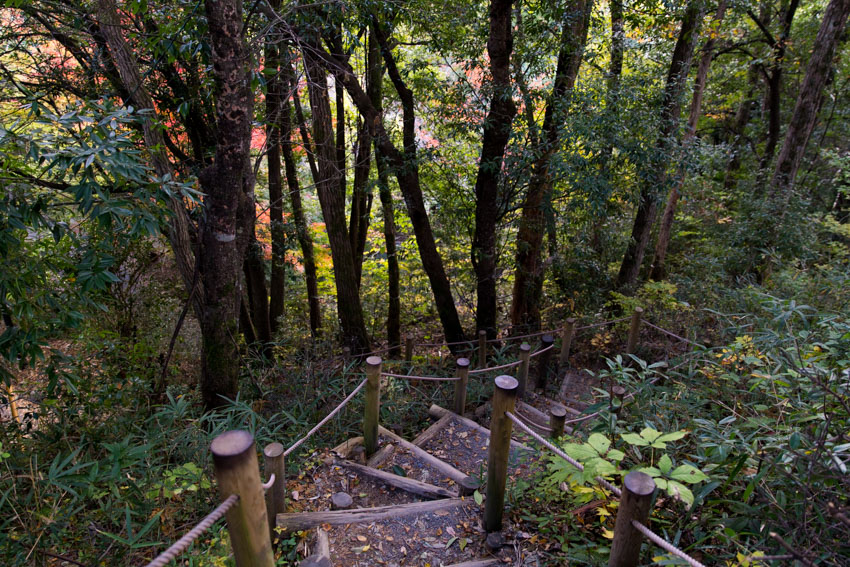 Man-made stairs part-way down the mountain that Gujo Hachiman castle sits on