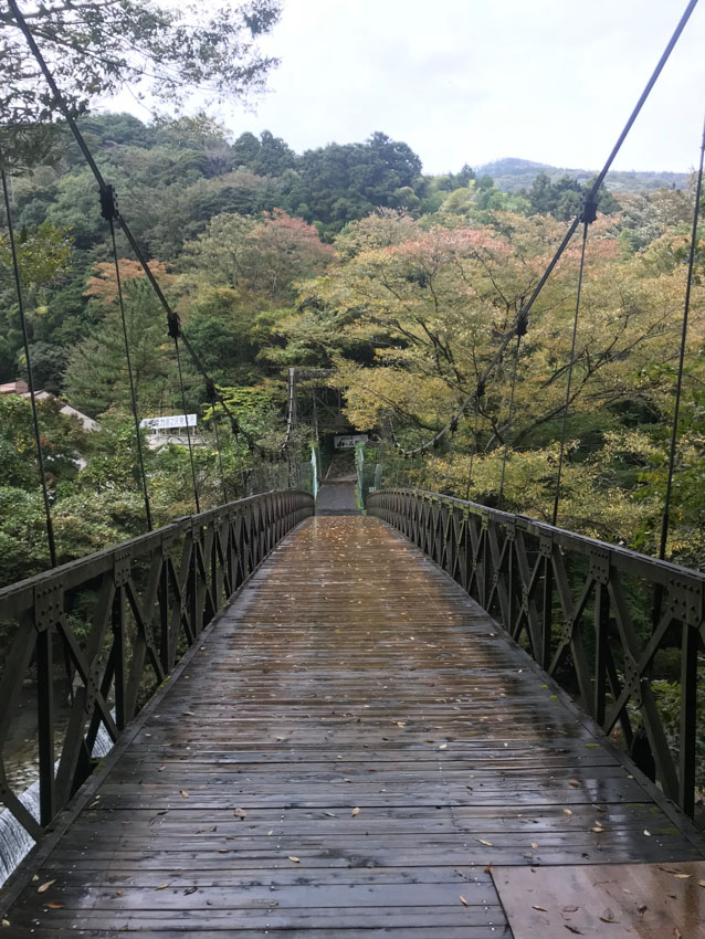 A rope bridge that went over a waterway and led to the ryokan we were staying in