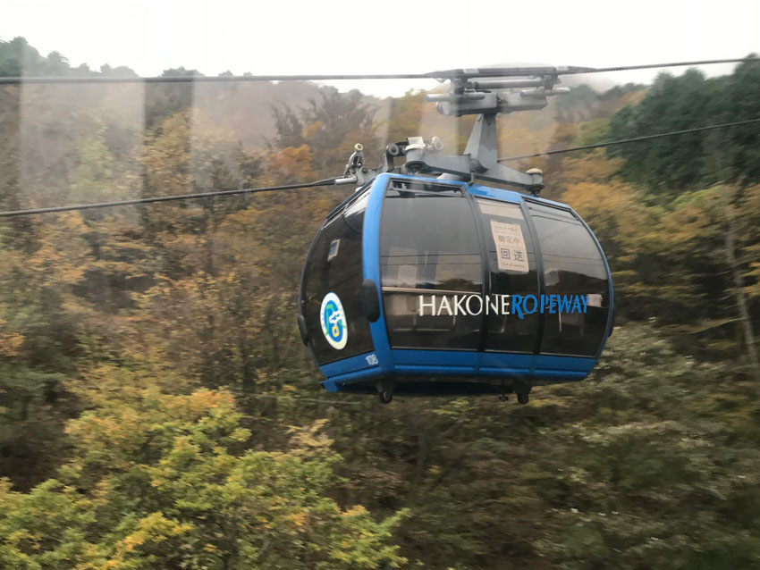 A carriage of the Hakone ropeway, as seen from another carriage