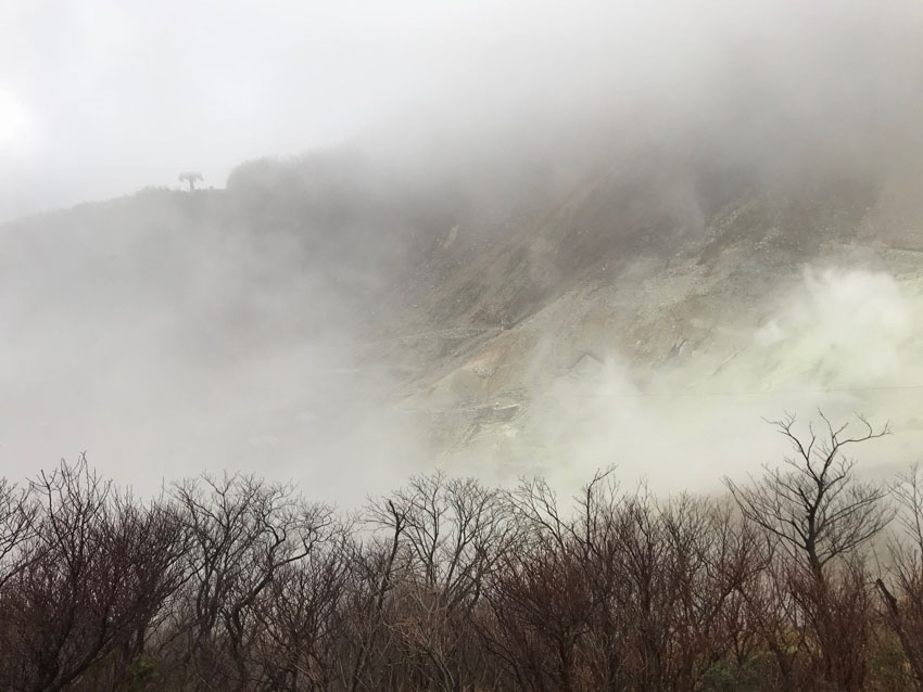 Sulphur mixed with clouds and wind at Owakudani