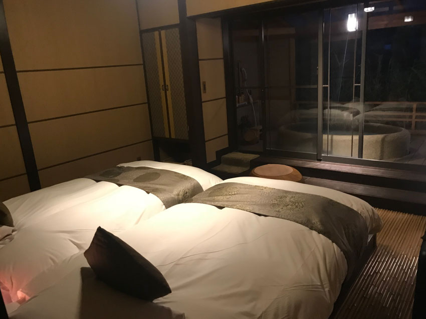 Two separate large beds in our ryokan room