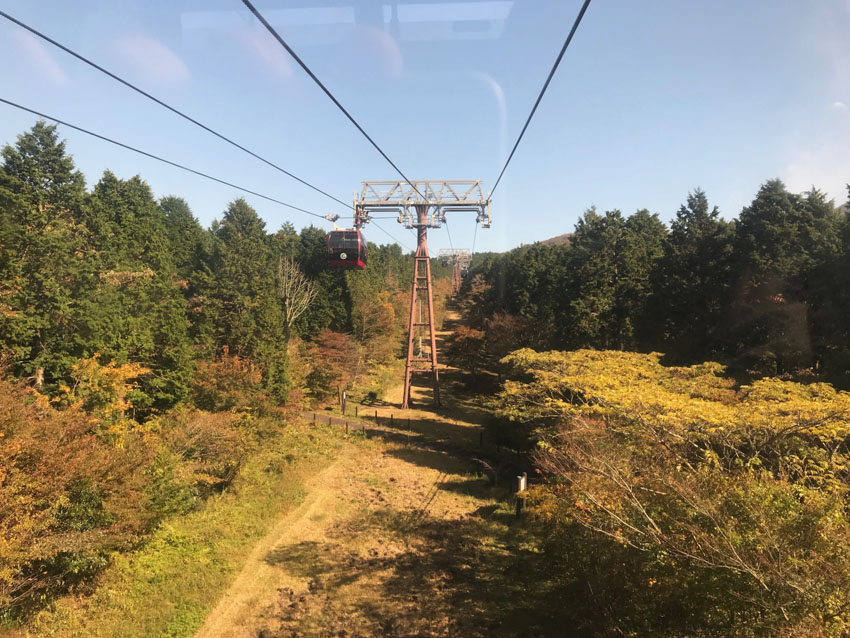 A view from the cable car on the way to Owakudani