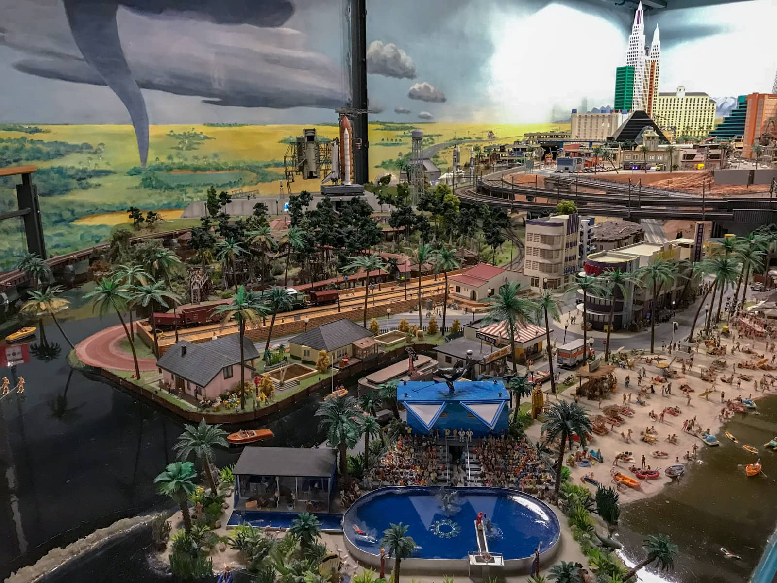 A miniature replica of a beach resort, as part of a model railway, with dozens of people and real water. There is exceptional detail.