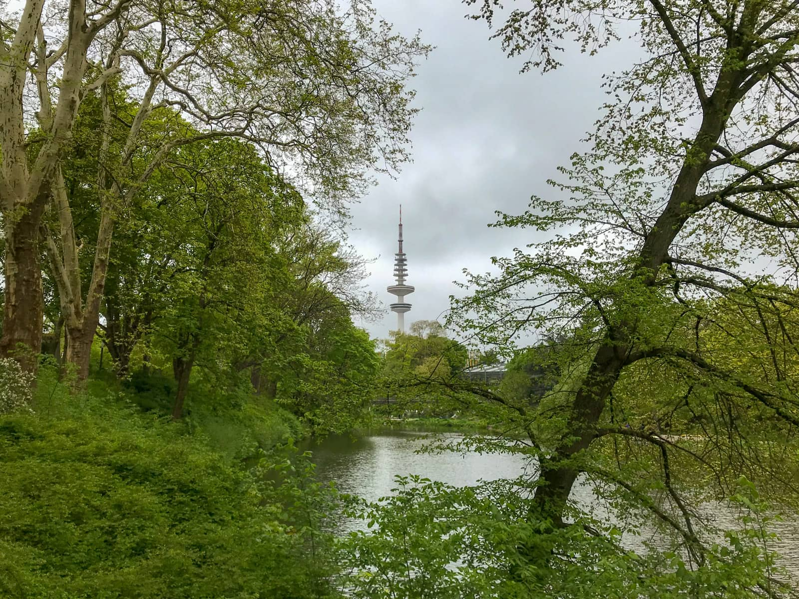 The Hamburg Hertz Tower in Hamburg, Germany. It's a telecommunications tower as seen from between trees inside of a park. It's a very cloudy day.
