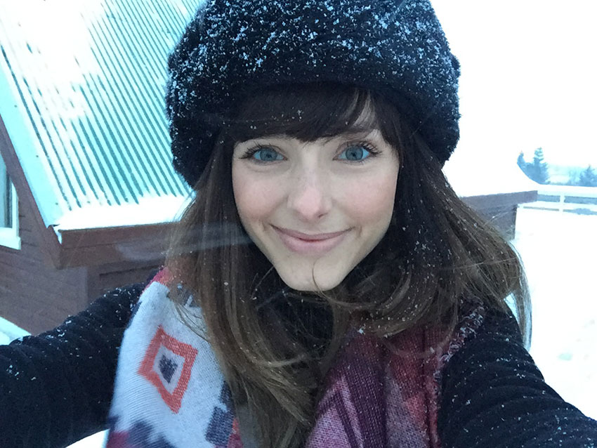 A selfie of Amy in the snow in Iceland