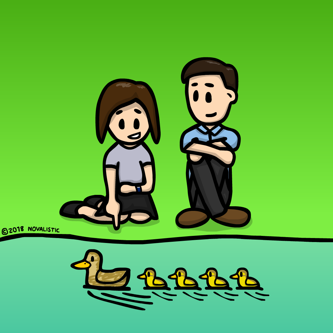 A computer created illustration of a girl with short dark hair and a boy with short dark hair sitting by a river and watching a mother duck and four ducks in line. The girl is pointing at the ducks.