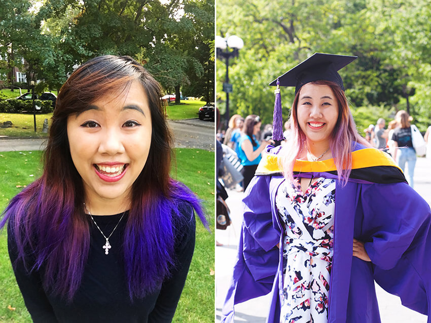 A diptych showing a girl, smiling in both photos, with dark that is purple on the bottom half. In the first photo she is wearing a black top. In the second photo she is wearing a patterned dress and a purple graduation robe and hat.