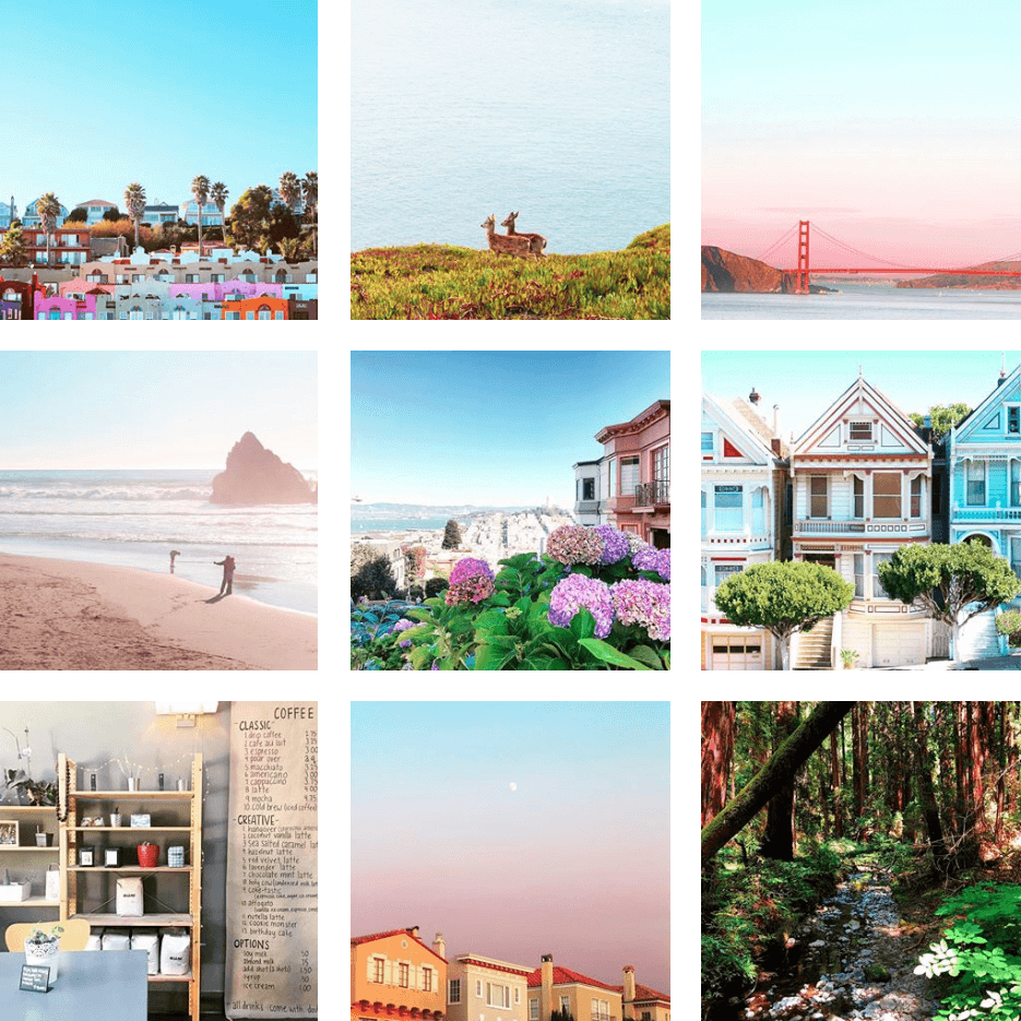 A three-by-three grid of various photos of buildings, beaches and nature from the San Francisco area