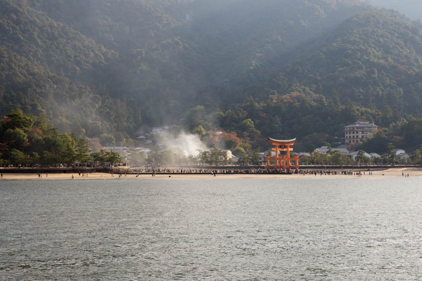 Itsukushima Shrine, the great torii gate, as seen from the ferry