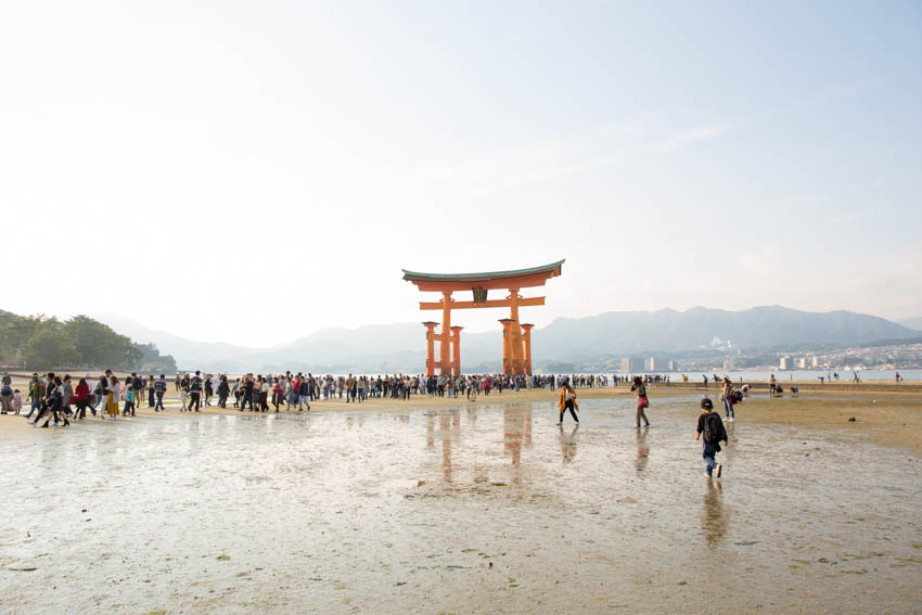 Itsukushima Shrine, the great torii gate, at low tide