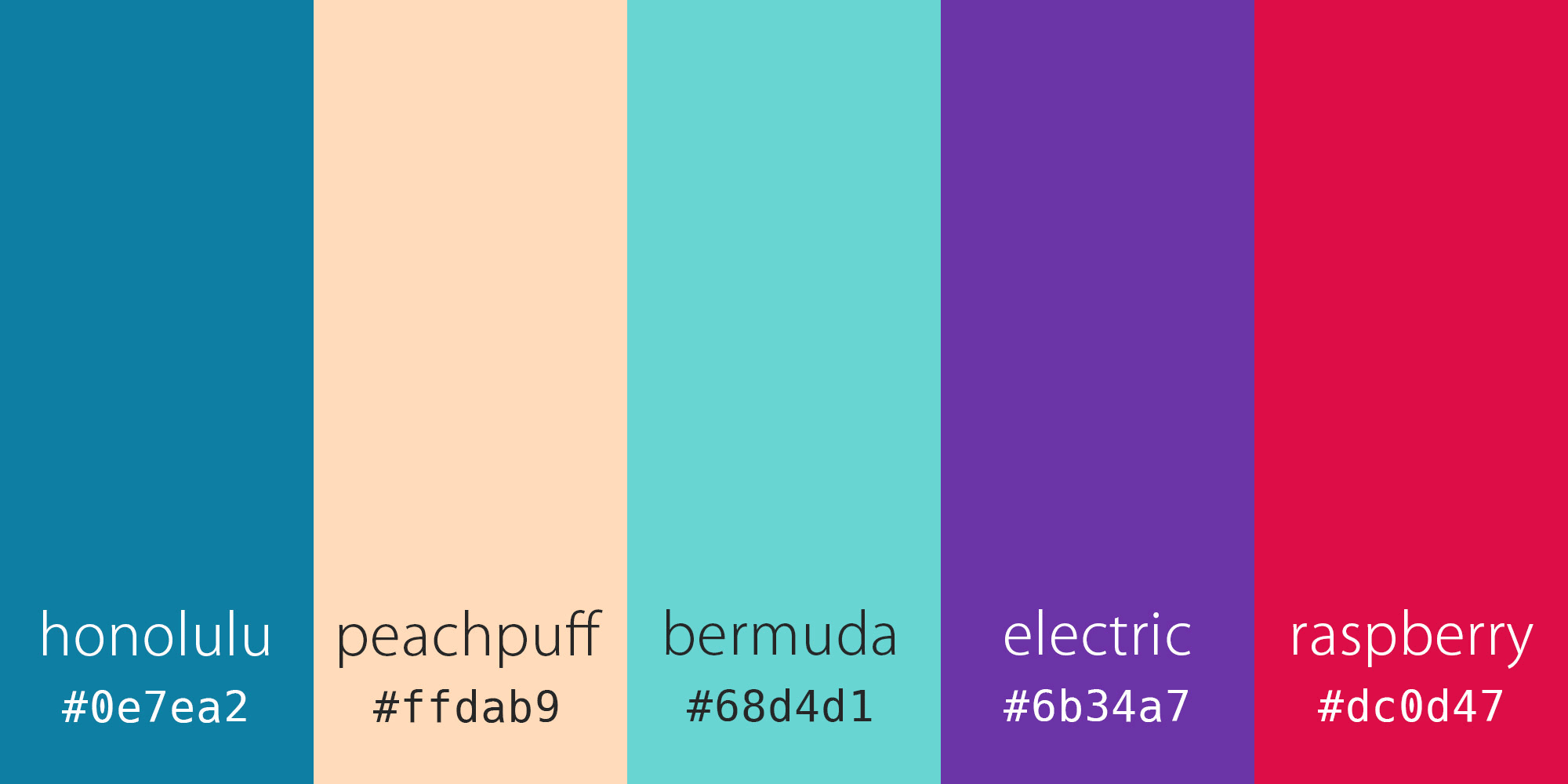"A colour palette with vertical panels of blue, peach, aqua, purple and magenta, labelled ""honolulu"", ""peachpuff"", ""bermuda"", ""electric"" and ""raspberry"", with corresponding hex colour codes underneath"