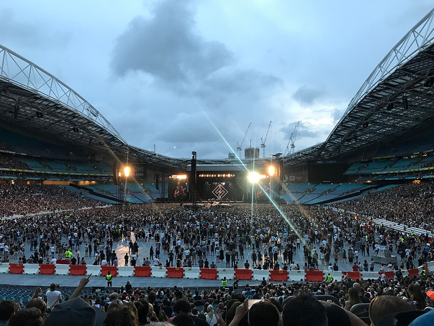 Inside the ANZ Stadium while Foo Fighters were playing their Sydney show