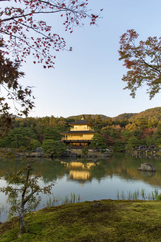A view of the Golden Pavilion with its reflection on the pond