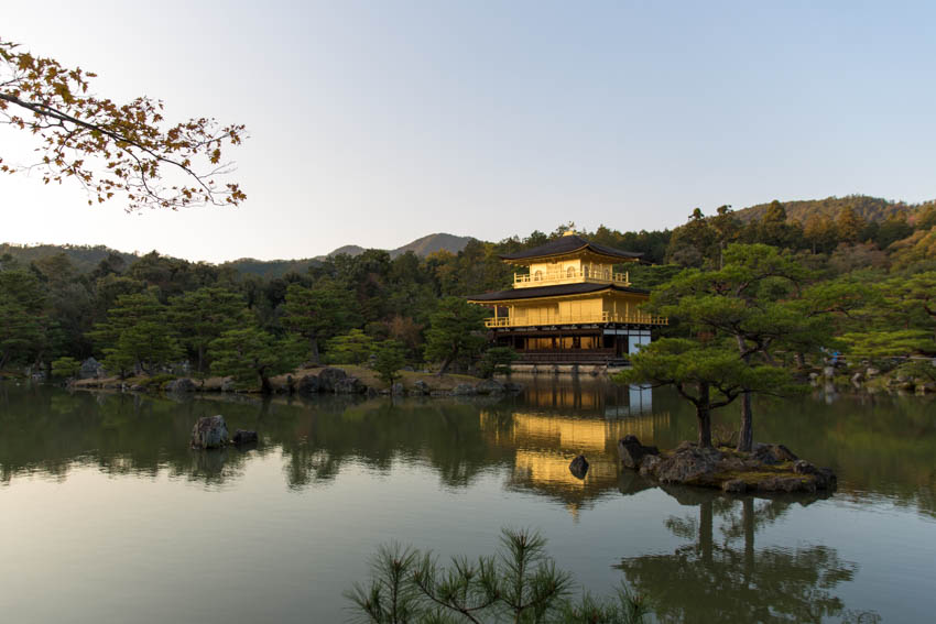 A lovely landscape view of the Golden Pavilion with a lot of the pond in view