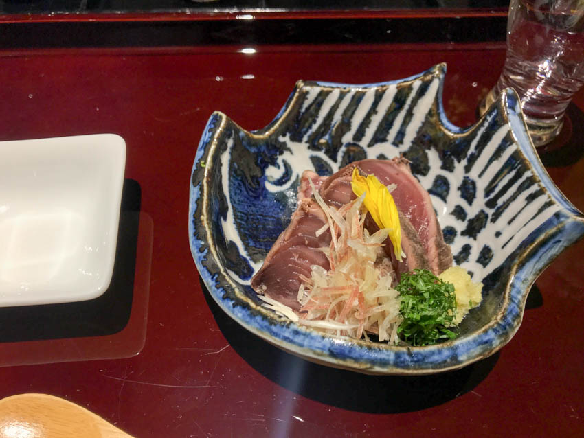 Bonito (a type of fish) sashimi in a small dish