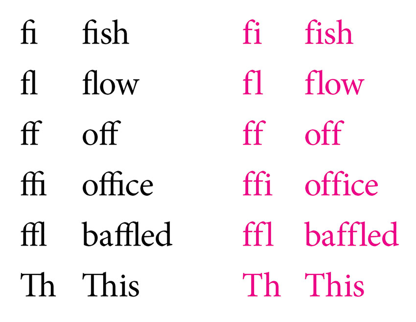 Example of ligatures alongside text that does not have ligatures