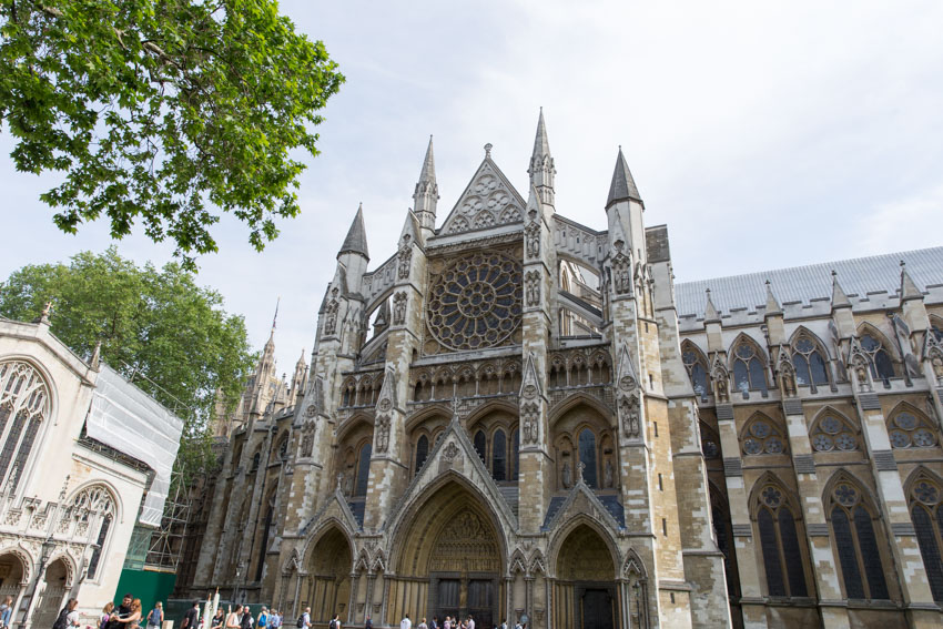 Side view of Westminster Abbey