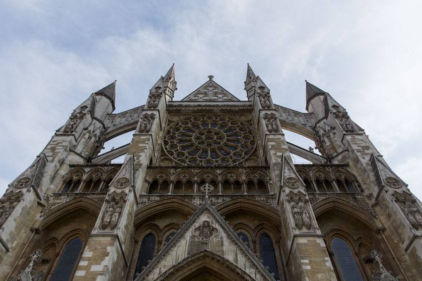 Low angle of the top of Westminster Abbey