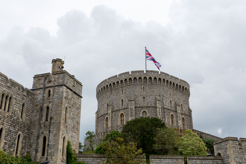 Windsor Castle turret with Union Jack flag
