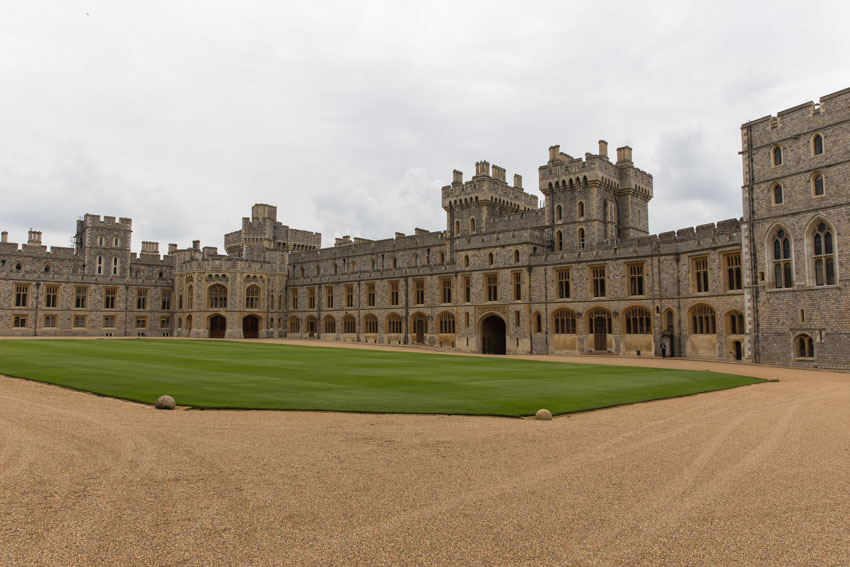 Wide shot of a fenced-off area of Windsor Castle