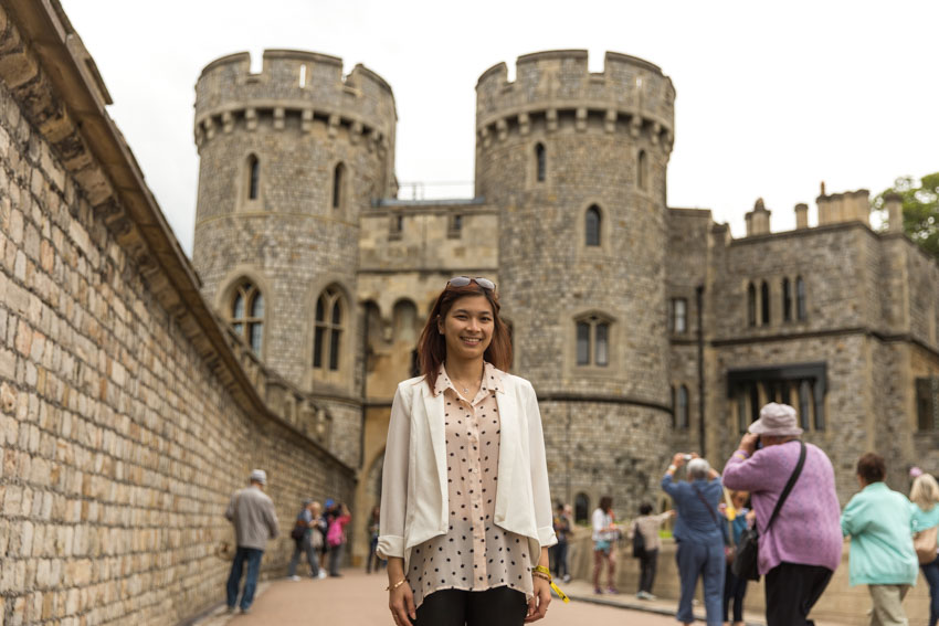 Medium shot of me standing amongst a small crowd in Windsor Castle