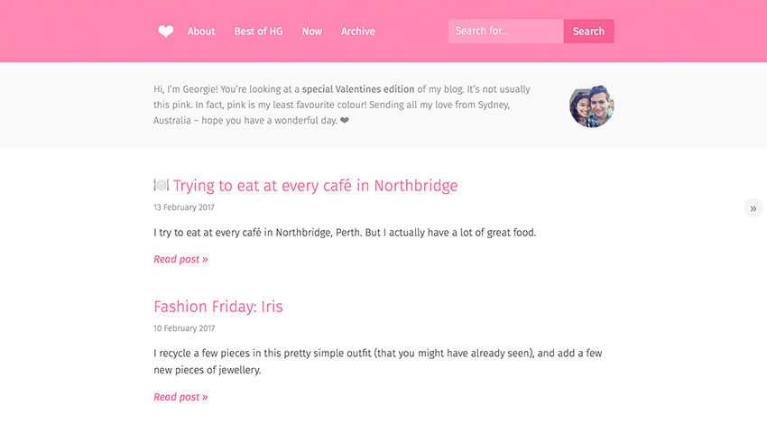 Screenshot of my blog with pink theming for Valentine's Day